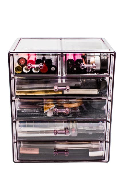 Image of Sorbus Purple Makeup & Jewelry Storage Case Display