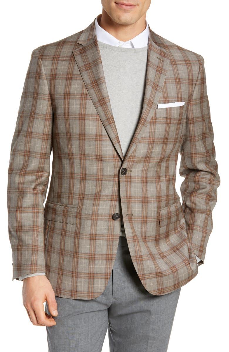 JB BRITCHES Classic Fit Plaid Wool Sport Coat, Main, color, TAN