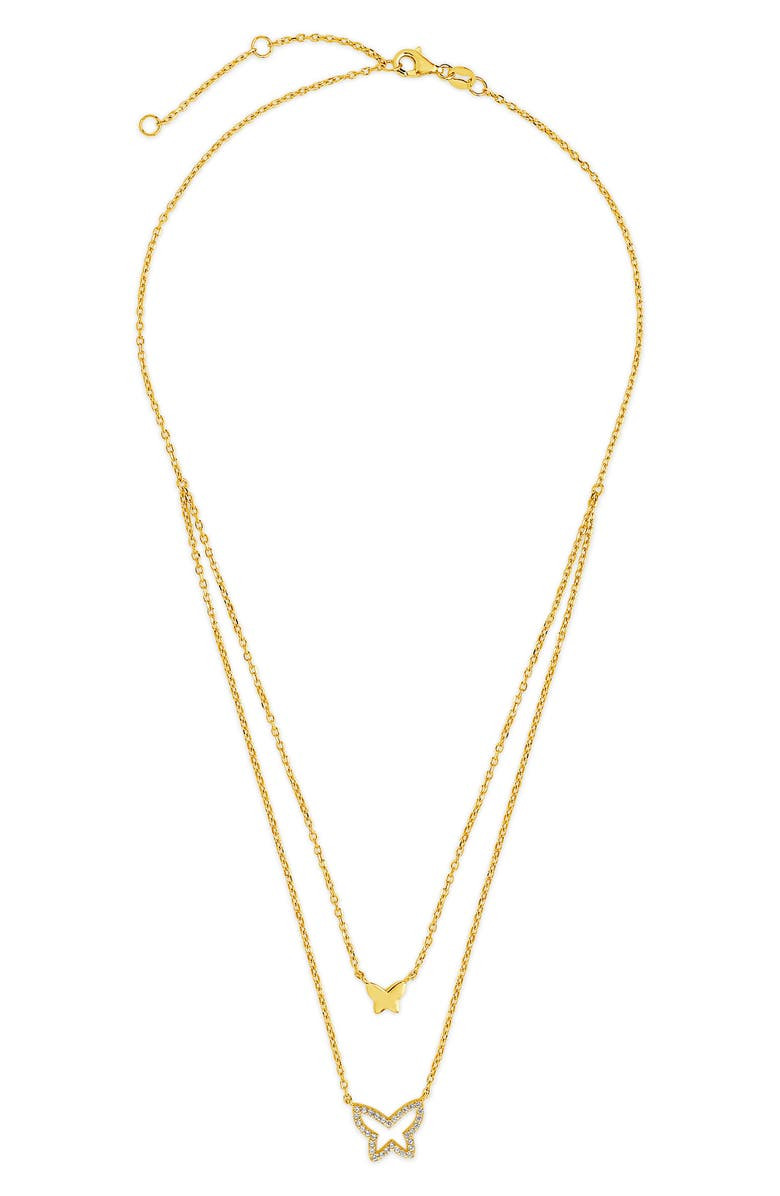 Sterling Forever Cubic Zirconia Butterfly Layered Pendant Necklace | Nordstrom