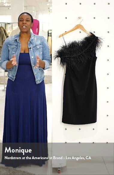 One-Shoulder Feather Trim Cocktail Dress, sales video thumbnail