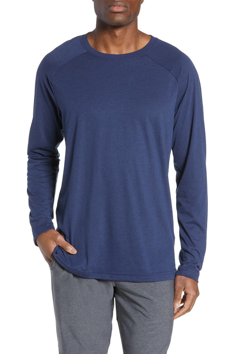 ALO Triumph Raglan Long Sleeve T-Shirt, Main, color, SOLID NAVY TRIBLEND