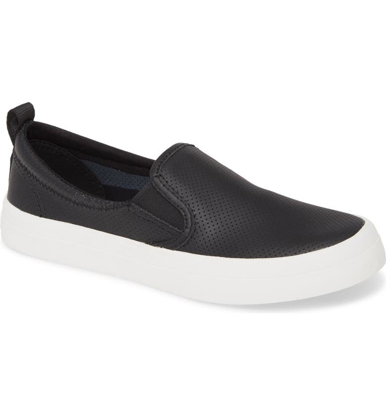 SPERRY Crest Twin Gore Slip-On Sneaker, Main, color, BLACK LEATHER