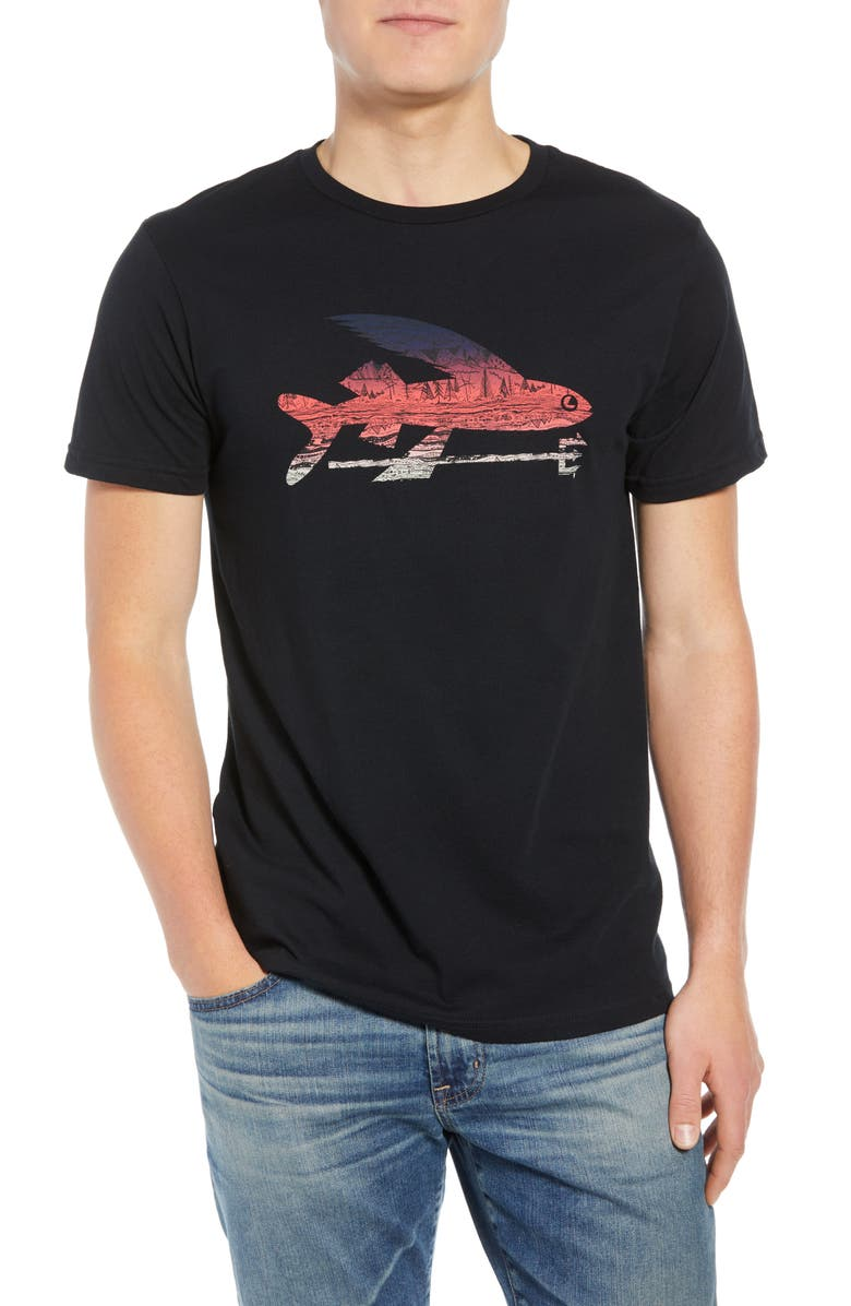 PATAGONIA Flying Fish Regular Fit Organic Cotton T-Shirt, Main, color, BLACK/ ALBANIAN LANDSCAPE
