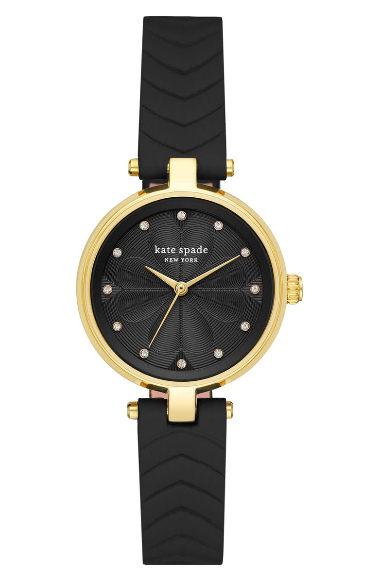 KATE SPADE NEW YORK annadale leather strap watch, 30mm, Main, color, BLACK/ GOLD