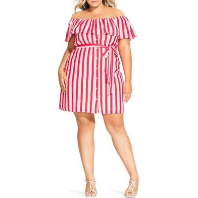 Plus Size City Chic Stripe Belted Off The Shoulder Minidress, Red