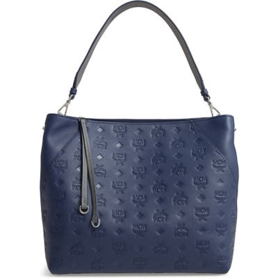 Mcm Medium Klara Monogram Leather Hobo - Blue