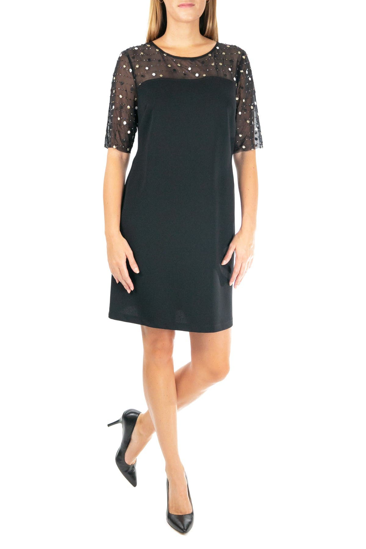 Image of Nina Leonard Jewel Neck Crepe Dress