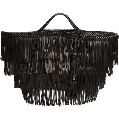 Saint Laurent Panier Tiered Fringe Leather Tote - Black