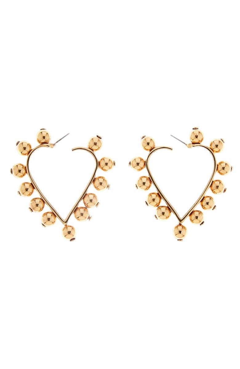 OSCAR DE LA RENTA Studded Heart Earrings, Main, color, GOLD