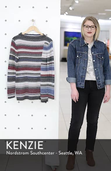 Banded Cotton Blend Offset Stripe Sweater, sales video thumbnail