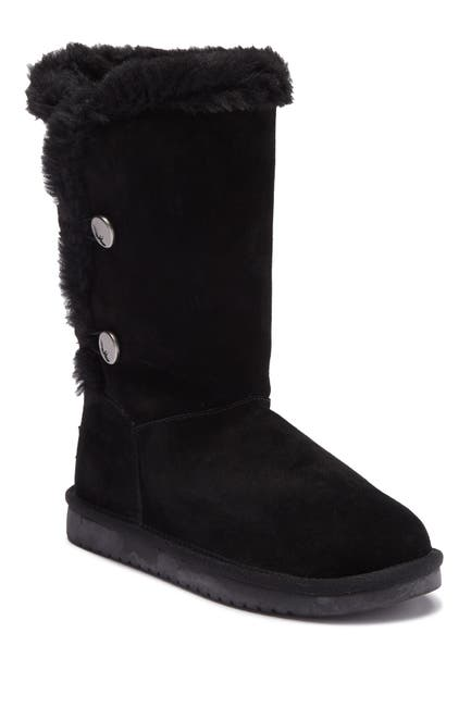 Image of KOOLABURRA BY UGG Kinslei Tall Suede Genuine Shearling Trim & Faux Fur Lined Boot