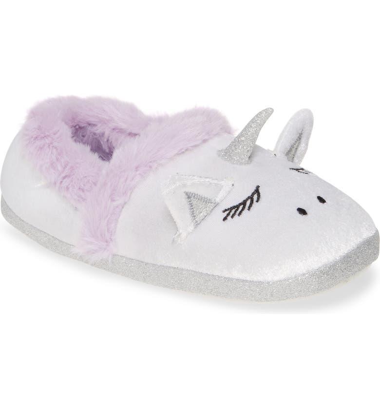TUCKER + TATE Glitter Unicorn Slipper, Main, color, WHITE FABRIC