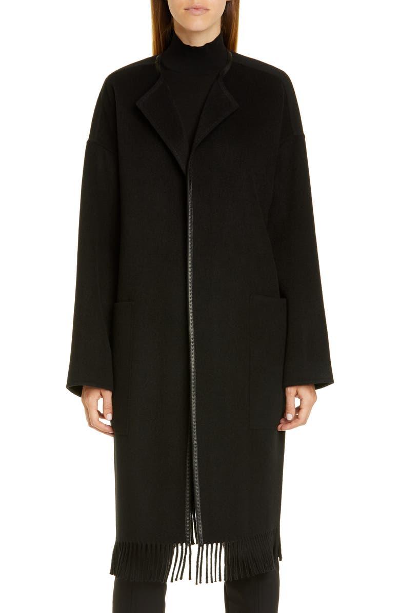 LAFAYETTE 148 NEW YORK Barnett Fringe Trim Cashmere Coat, Main, color, BLACK