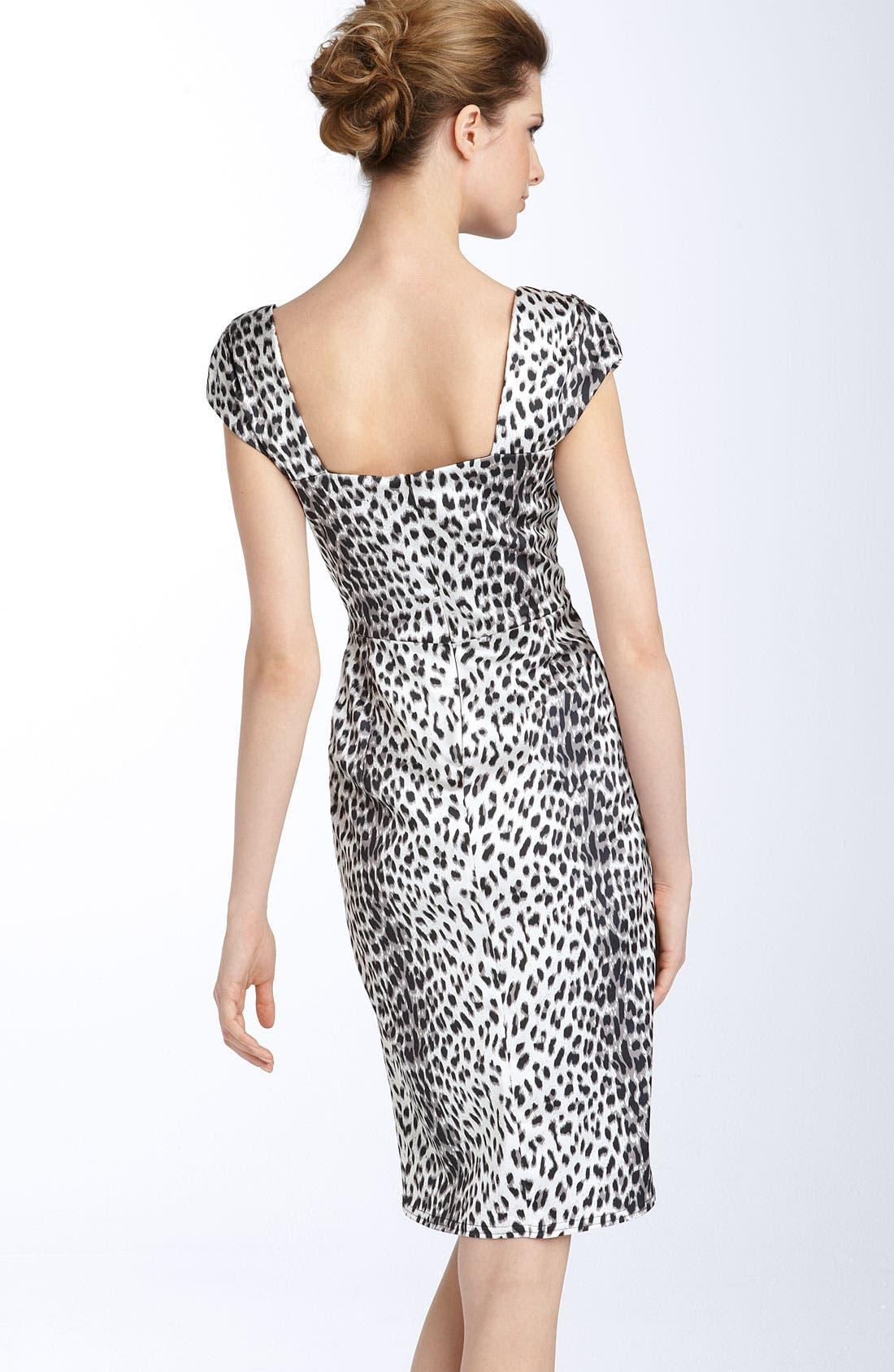 ,                             Leopard Print Stretch Satin Sheath Dress,                             Alternate thumbnail 2, color,                             001