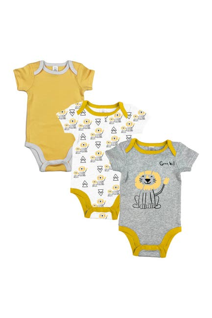 Image of Modern Baby Short Sleeve Bodysuits - Pack of 3