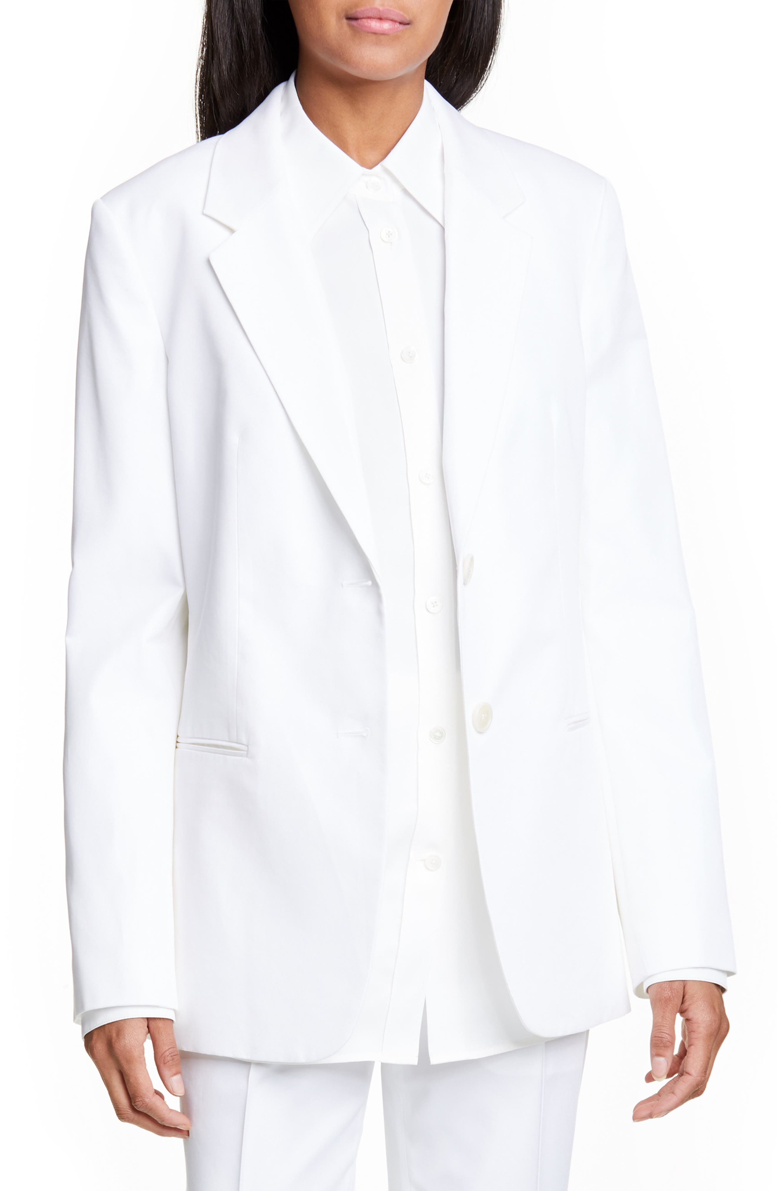 Cotton Blend Blazer, Main, color, WHITE