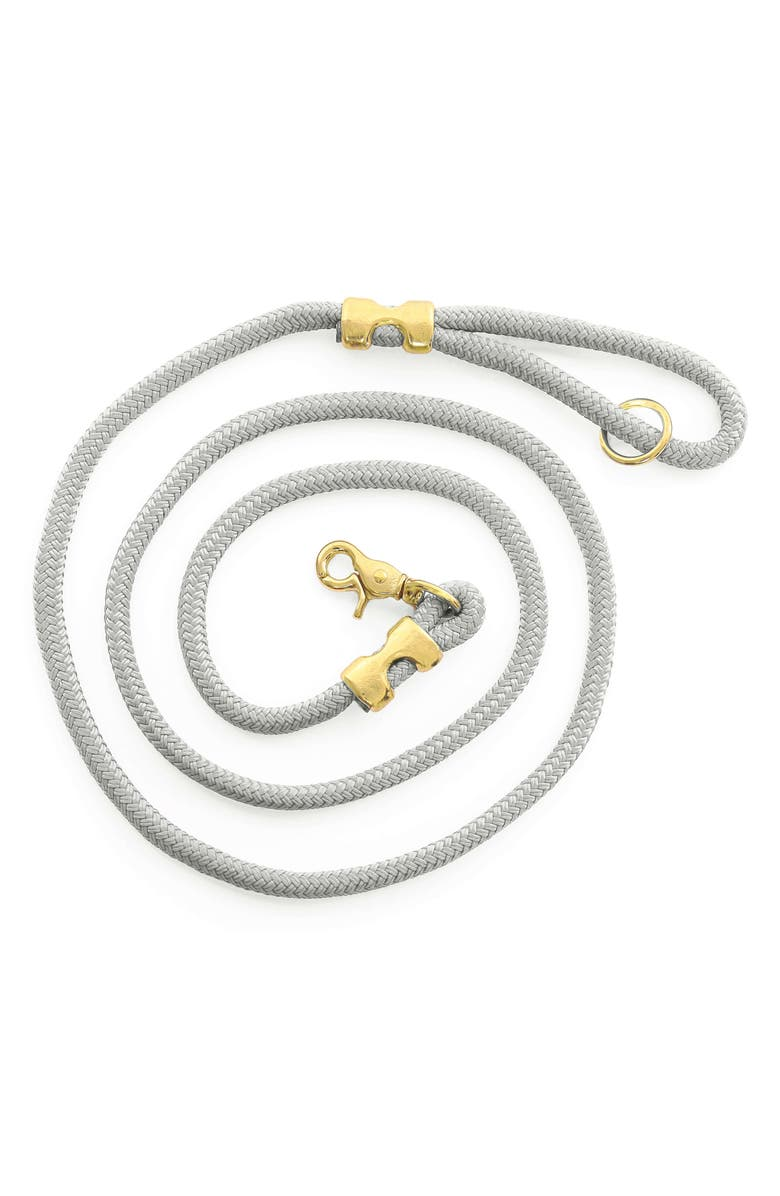 THE FOGGY DOG Marine Rope Dog Leash, Main, color, LIGHT GREY/ GOLD