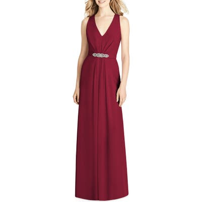 Jenny Packham Jewel Belt Chiffon Gown, Burgundy