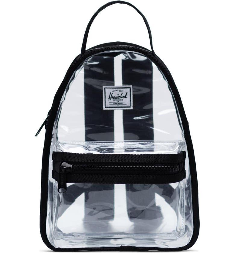 HERSCHEL SUPPLY CO. Mini Nova Clear Backpack, Main, color, BLACK/ CLEAR