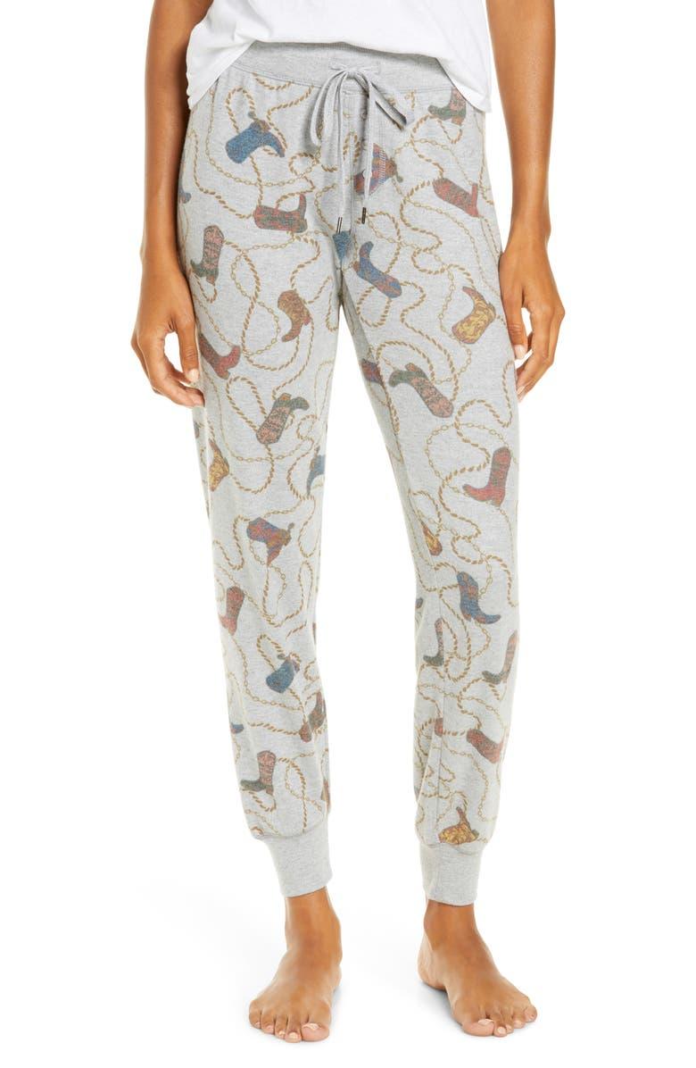 PJ SALVAGE Western Jam Pajama Pants, Main, color, HEATHER GREY