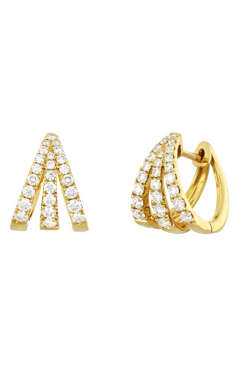 BONY LEVY Audrey Triple Row Diamond Huggie Hoop Earrings, Main, color, YELLOW GOLD/ DIAMOND