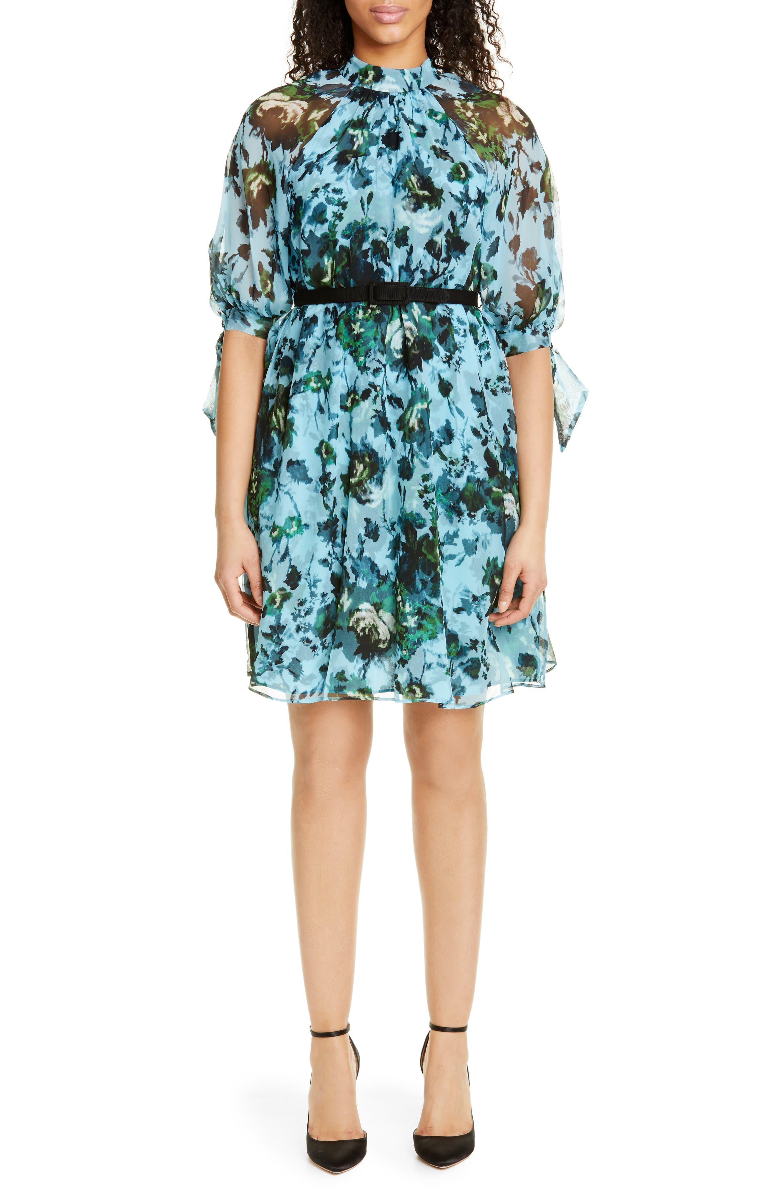 Erdem Belted Floral Print Silk Voile Dress