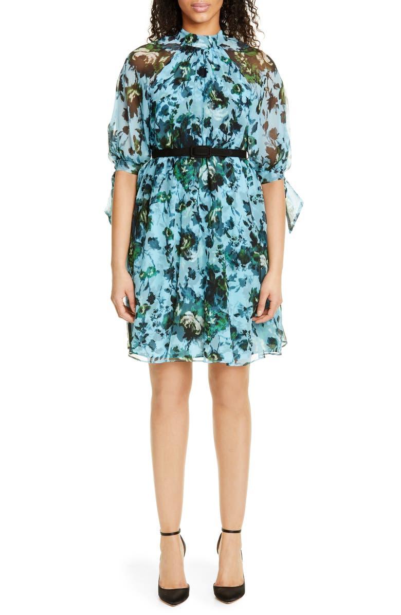 ERDEM Belted Floral Print Silk Voile Dress, Main, color, 400
