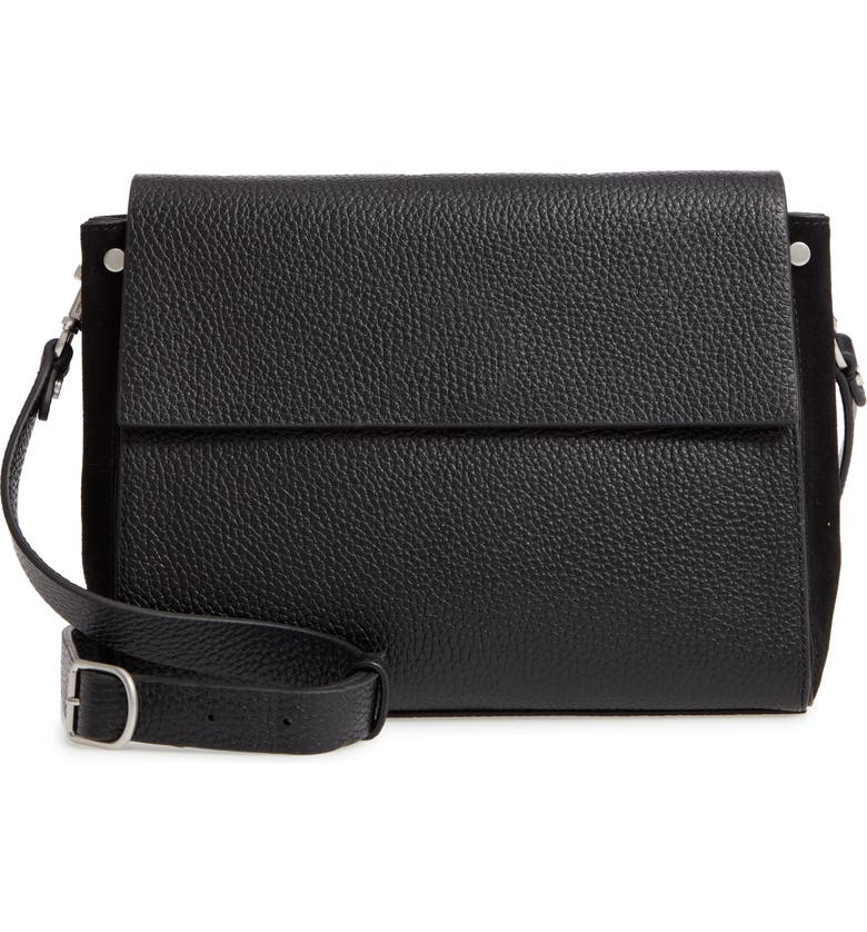 TREASURE & BOND Carly Leather Crossbody Bag, Main, color, BLACK