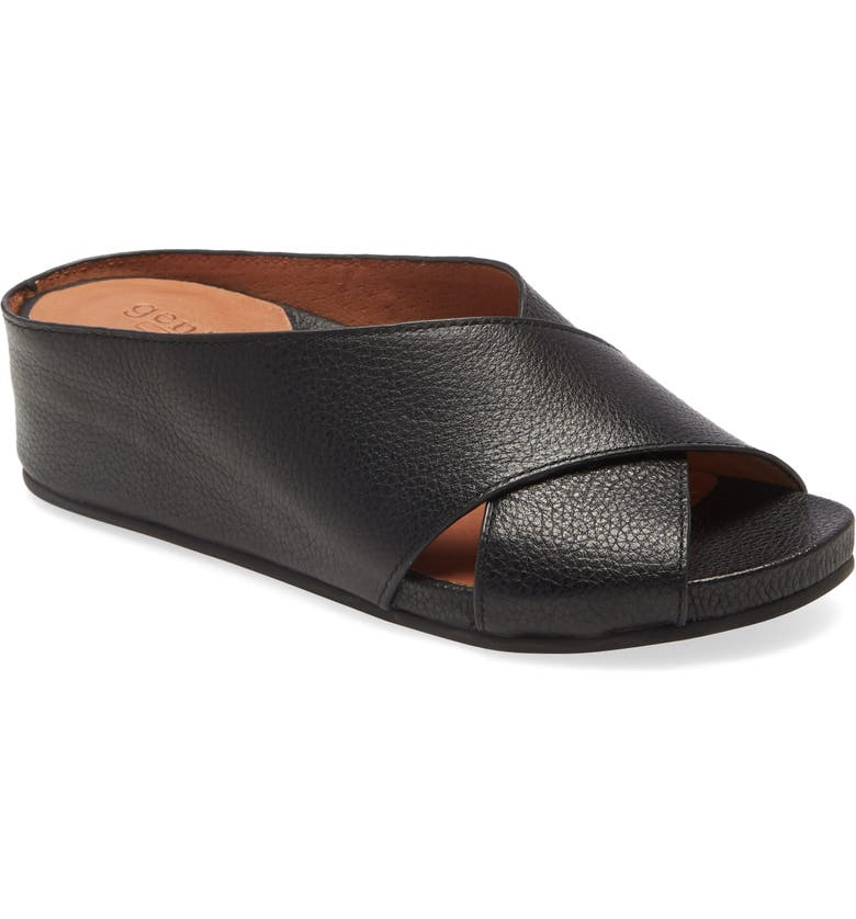 GENTLE SOULS SIGNATURE Giselle Slide Sandal, Main, color, BLACK LEATHER