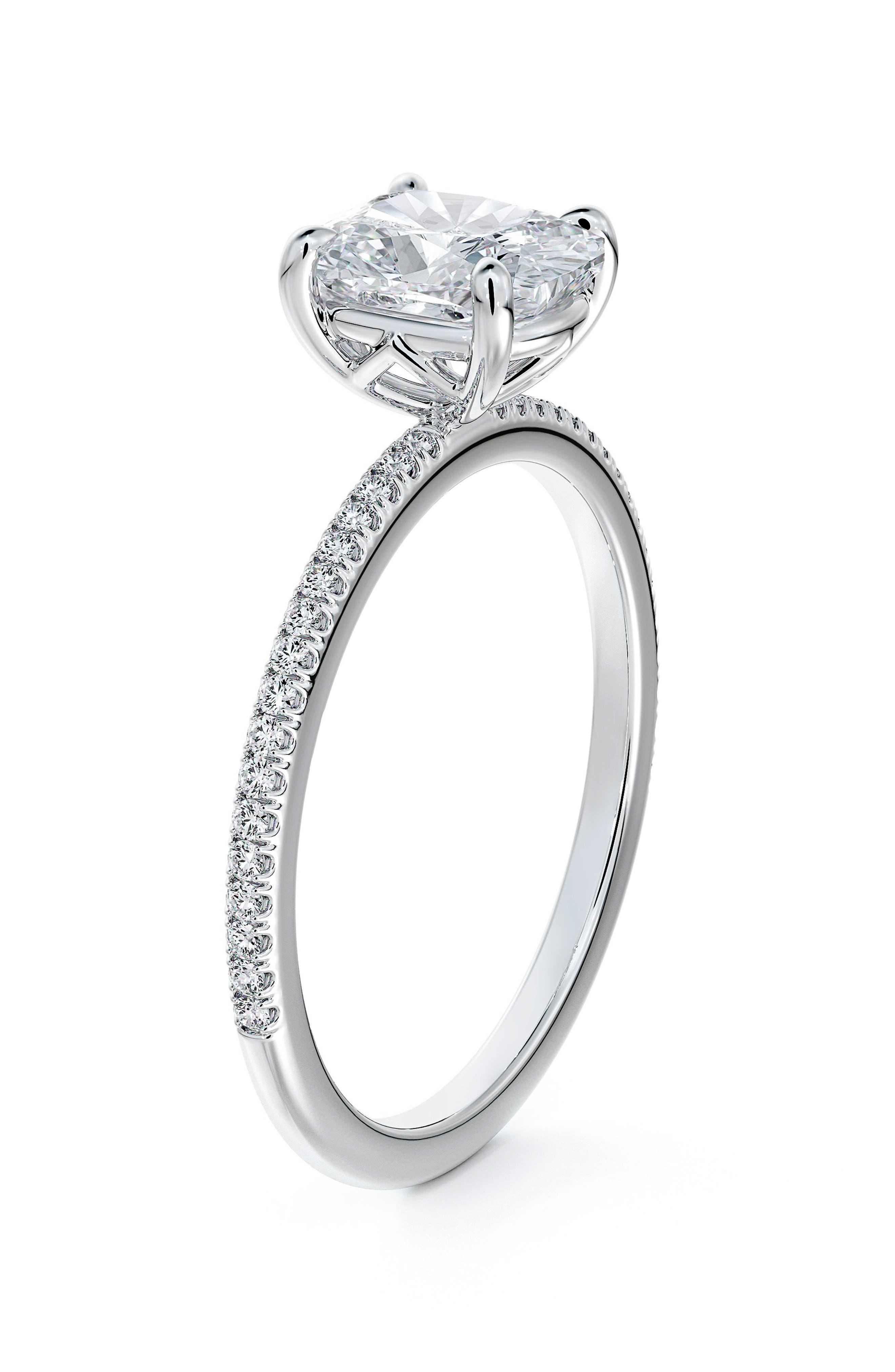 Delicate Icon(TM) Setting Cushion Diamond Engagement Ring With Diamond Band