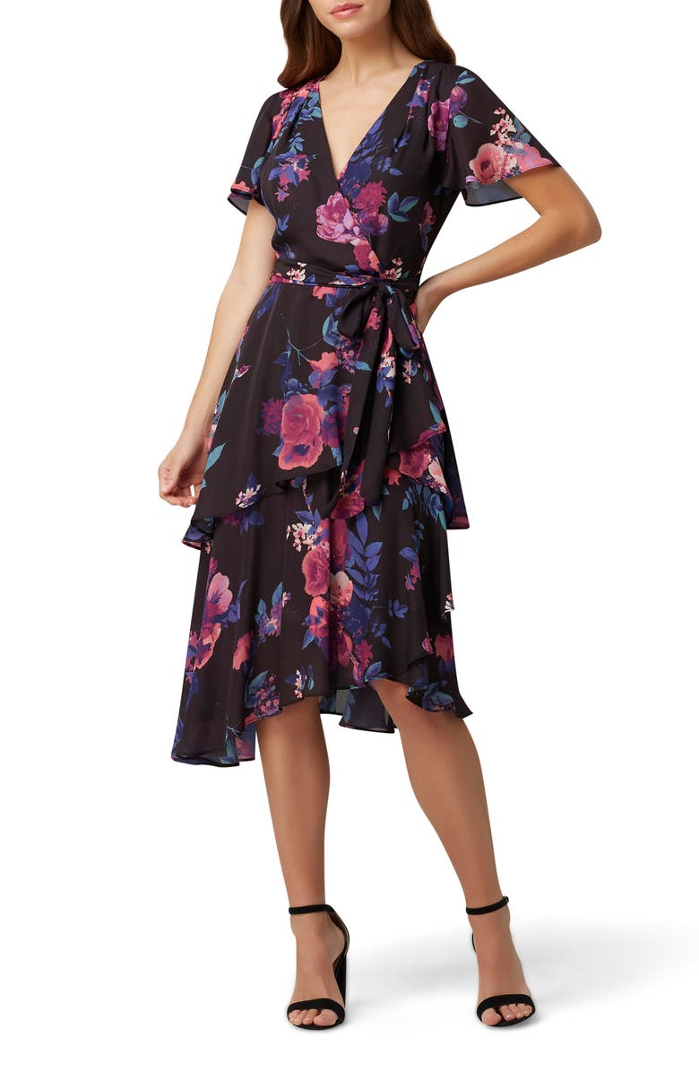 TAHARI Floral Short Sleeve Chiffon Midi Dress, Main, color, PINK PURPLE FLORAL