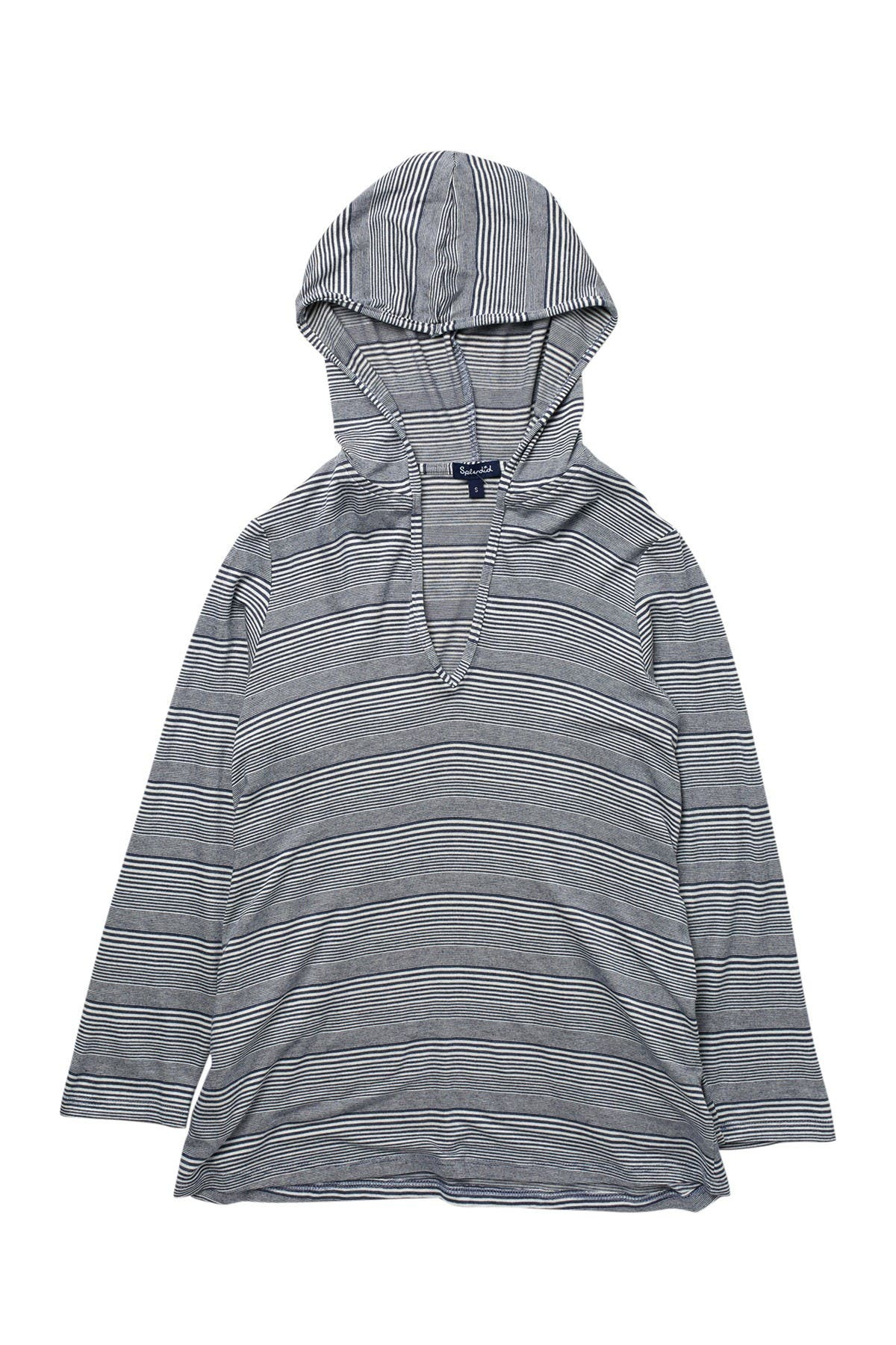 Image of Splendid Able Staple Striped Cover-Up Tunic Hoodie
