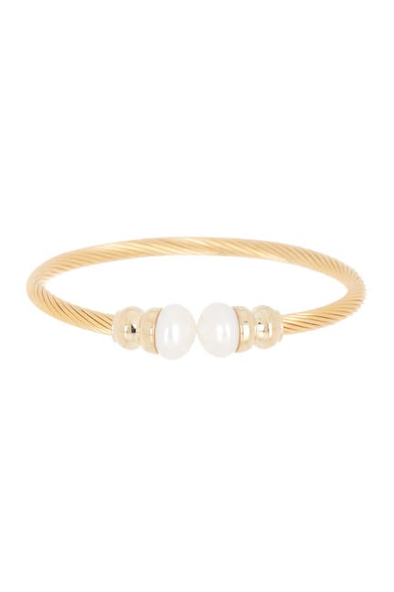 Image of Savvy Cie Cable Twist Pearl Cuff Bracelet