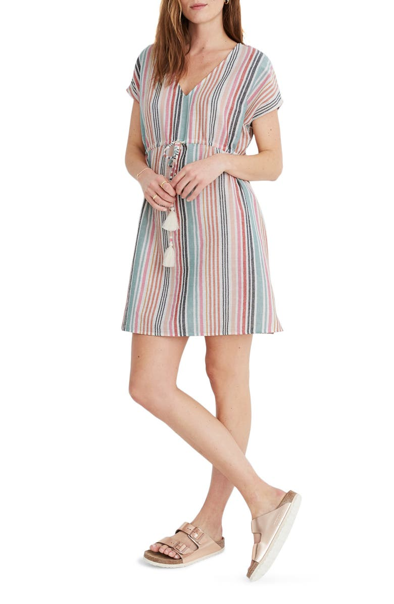 MADEWELL Drawstring Cover-Up Tunic Dress, Main, color, 800