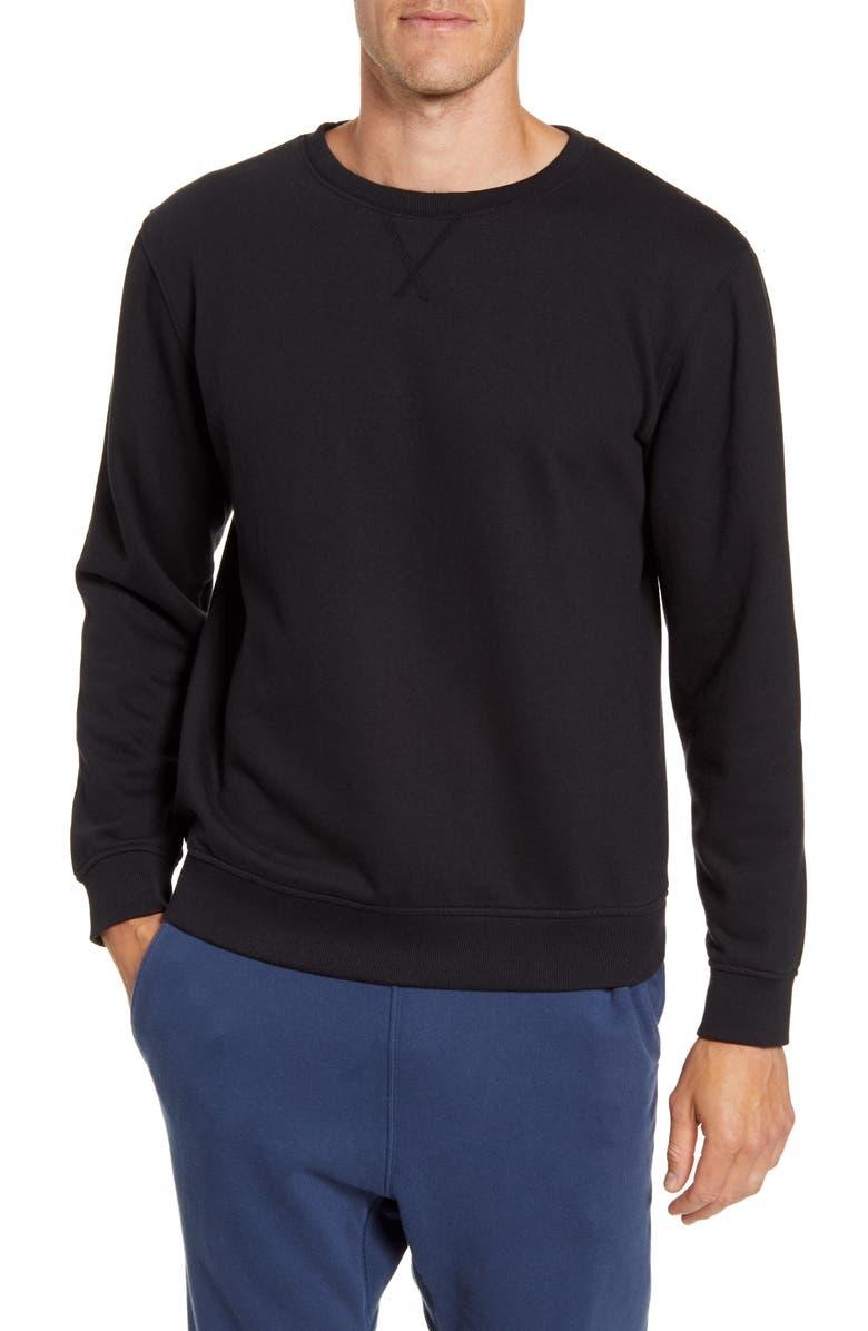 RICHER POORER Cotton Blend Crewneck Sweatshirt, Main, color, BLACK