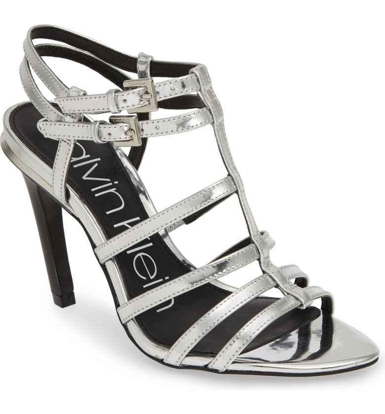 CALVIN KLEIN Gili Sandal, Main, color, SILVER LEATHER