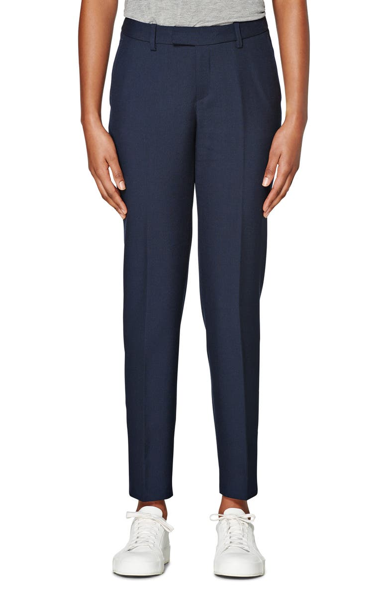 SUISTUDIO Robin Classic Wool & Mohair Trousers, Main, color, NAVY