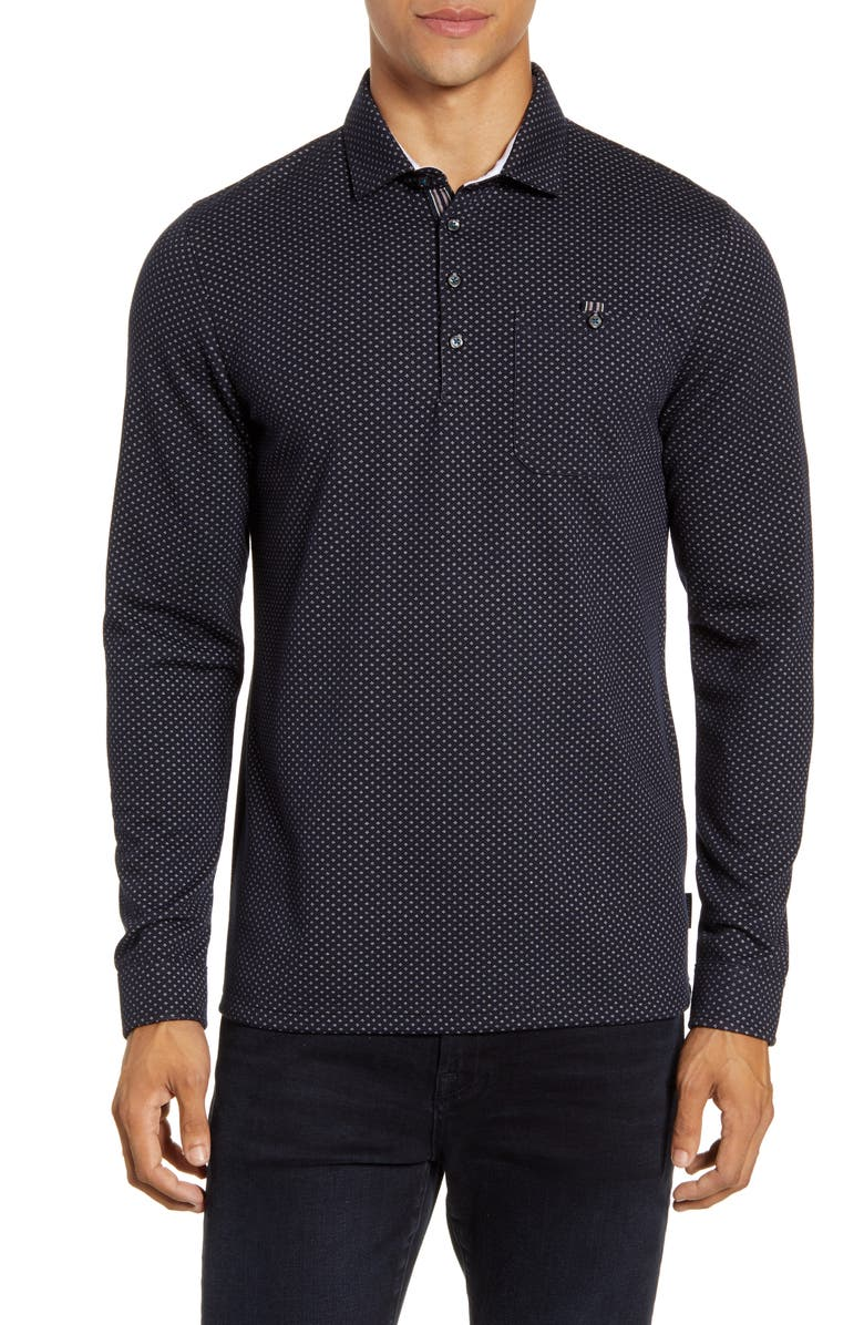 TED BAKER LONDON Outof Slim Fit Jacquard Polo, Main, color, NAVY