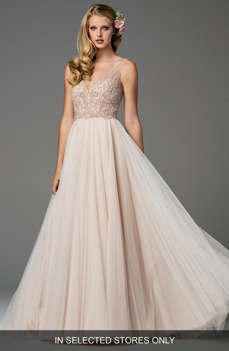WATTERS Ora Strapless Tulle Gown, Main, color, NUOVO ROSE