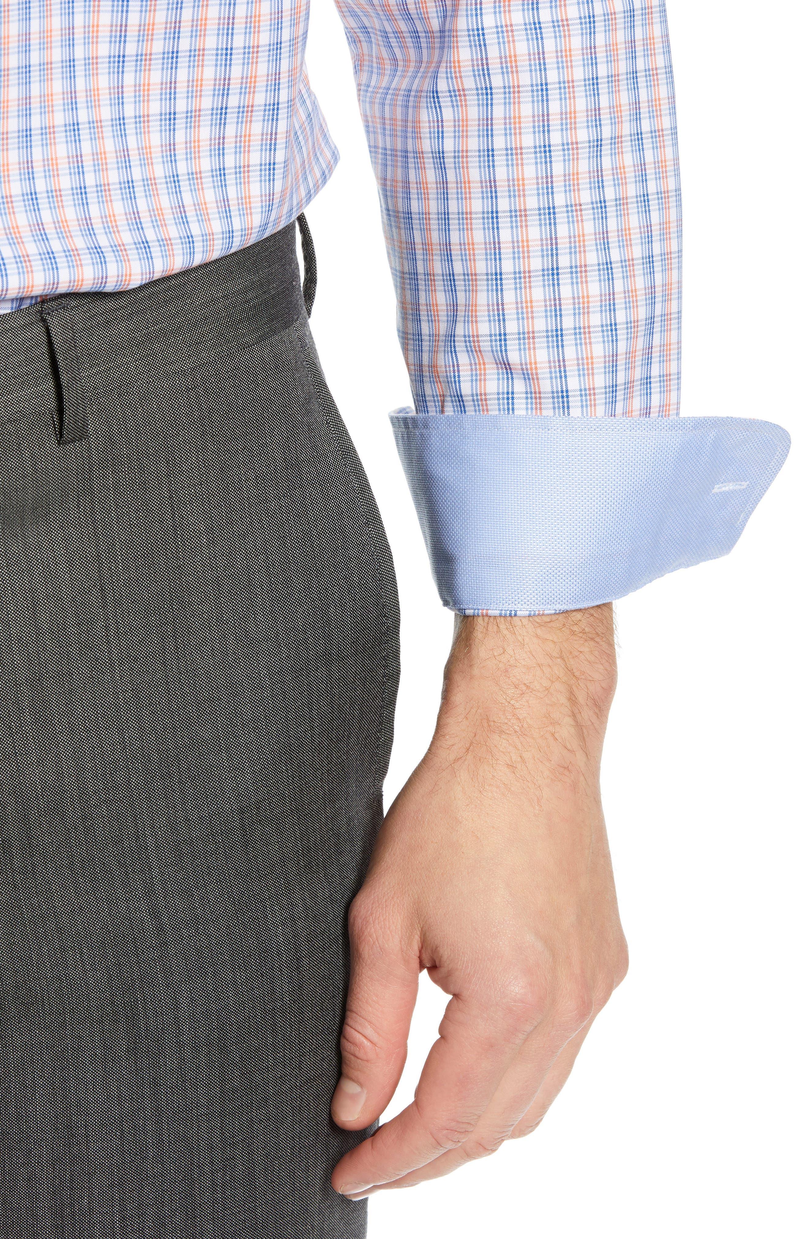 ,                             Trim Fit Non-Iron Plaid Dress Shirt,                             Alternate thumbnail 2, color,                             CORAL REEF
