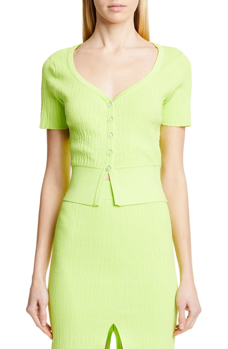 SIMON MILLER Senoia Fitted Crop Cardigan, Main, color, LIME