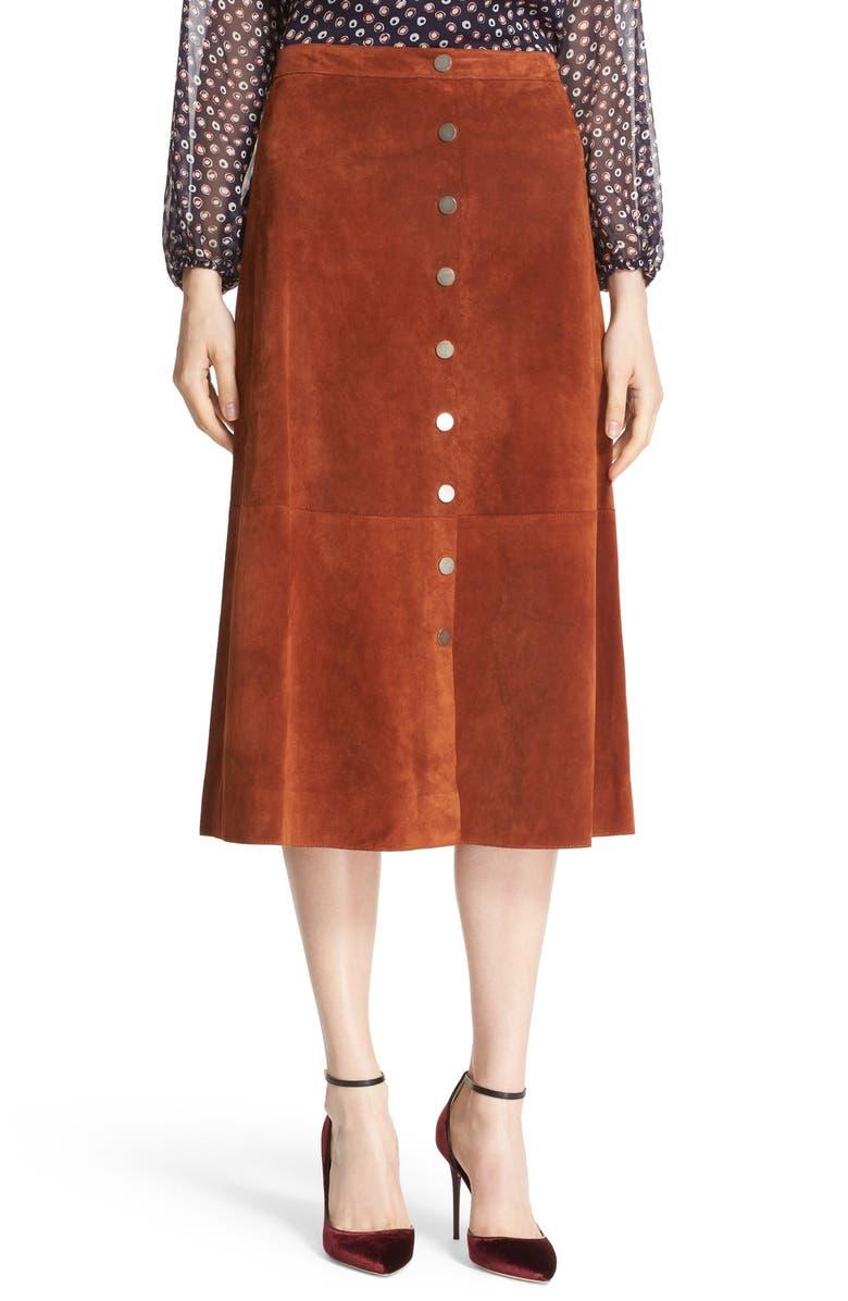 DIANE VON FURSTENBERG 'Gracelynn' Suede Midi Skirt, Main, color, 200