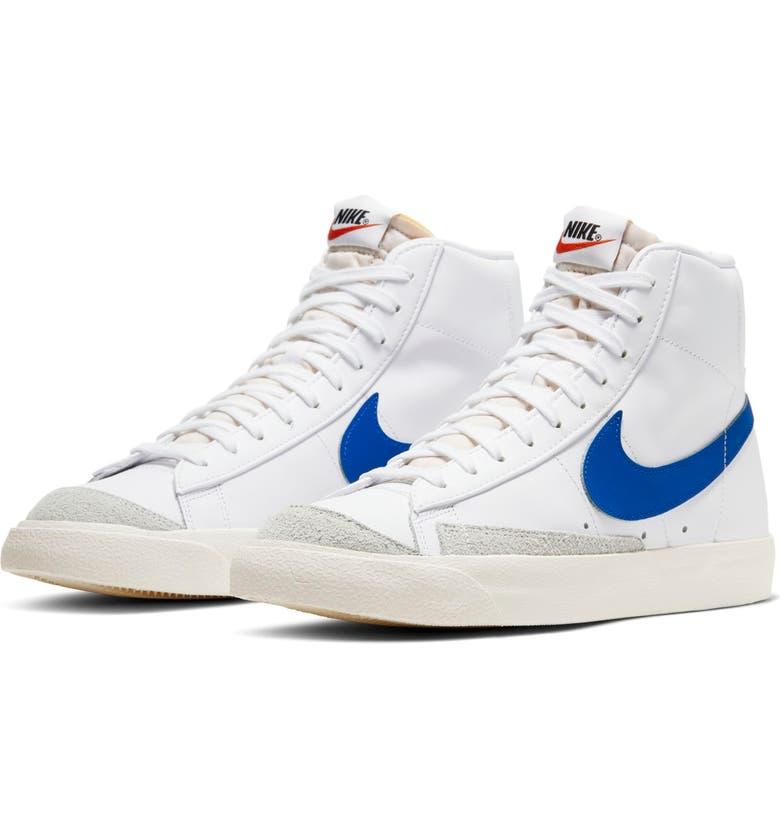 NIKE Blazer Mid '77 Vintage Sneaker, Main, color, WHITE/ RACER BLUE/ SAIL