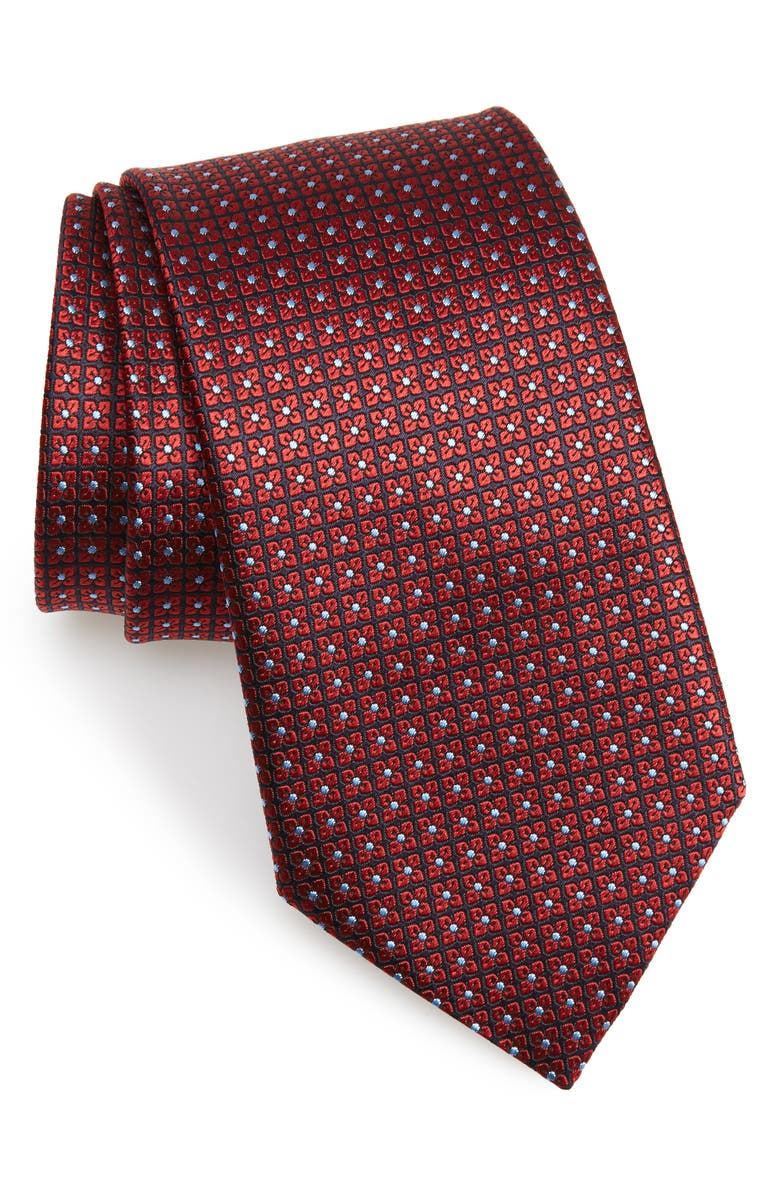 ERMENEGILDO ZEGNA Floral Grid Silk Tie, Main, color, MEDIUM RED FAN