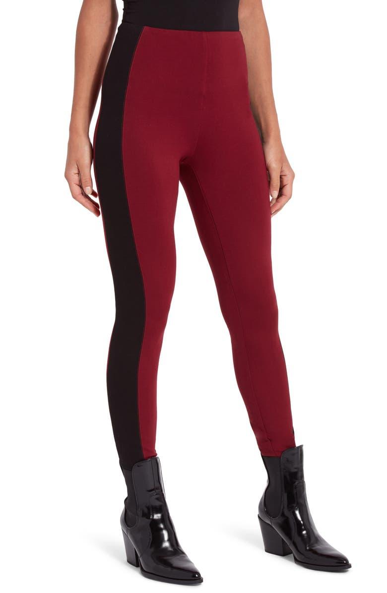 LYSSÉ Laura Stripe Leggings, Main, color, RED NIGHT