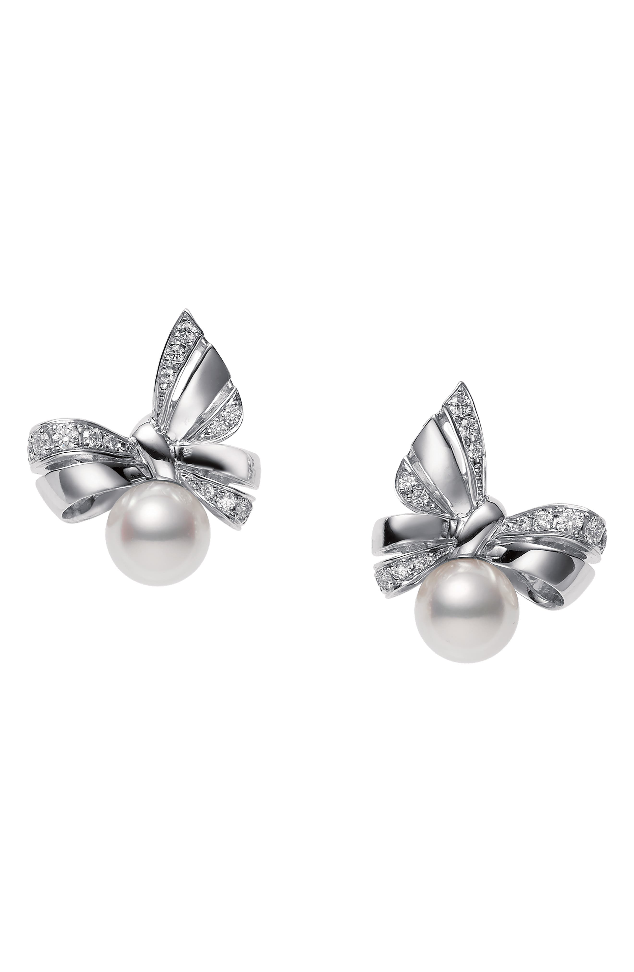 Ribbon Diamond & Pearl Stud Earrings