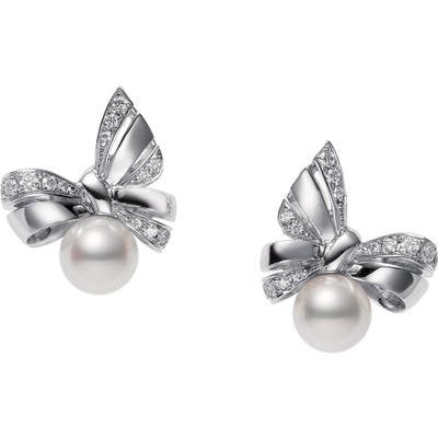 Mikimoto Ribbon Diamond & Pearl Stud Earrings