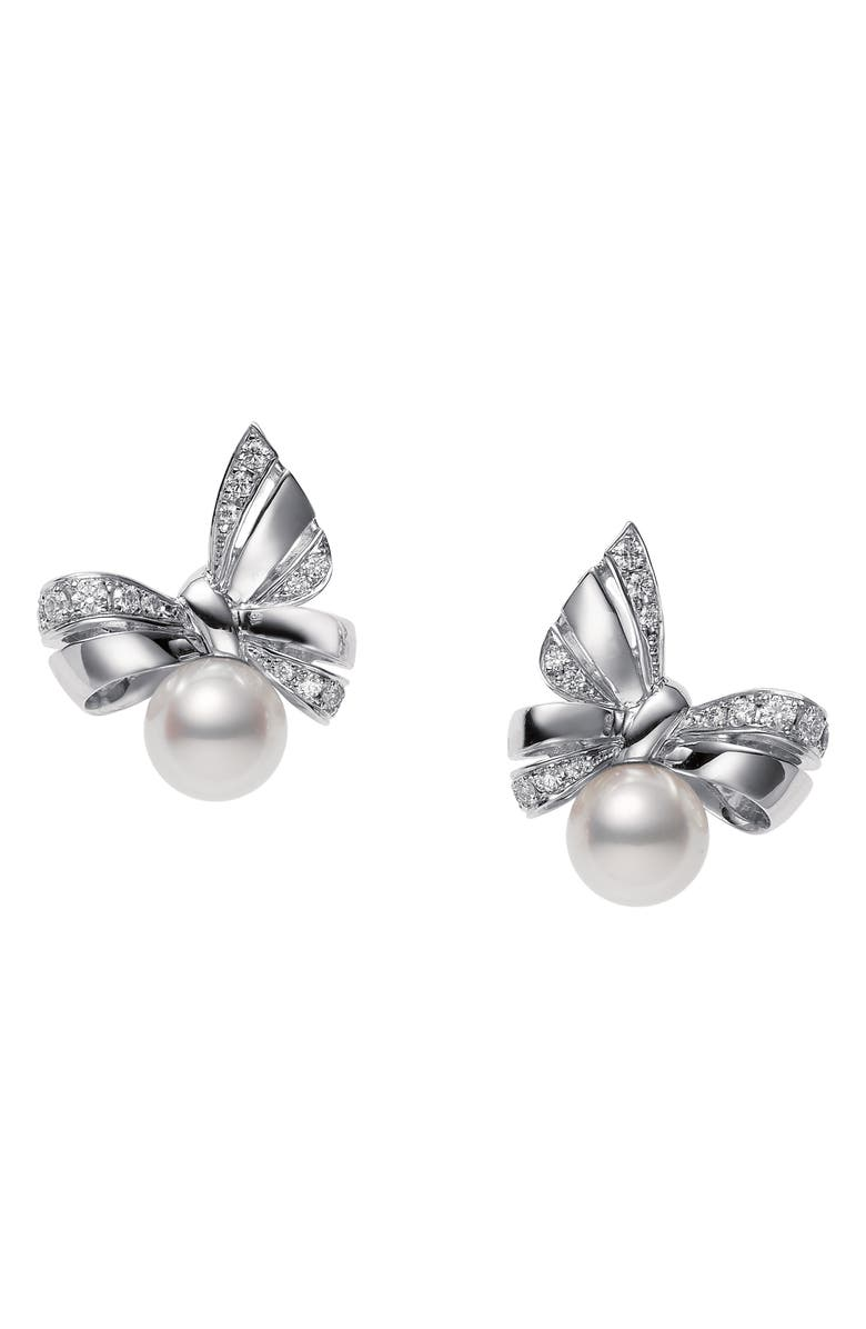 MIKIMOTO Ribbon Diamond & Pearl Stud Earrings, Main, color, WHITE GOLD/ PEARL