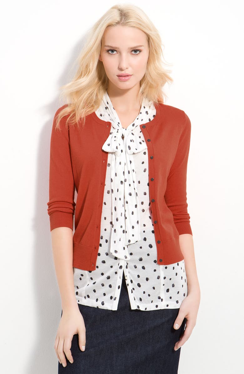 HALOGEN<SUP>®</SUP> Three Quarter Sleeve Crewneck Cardigan, Main, color, 800