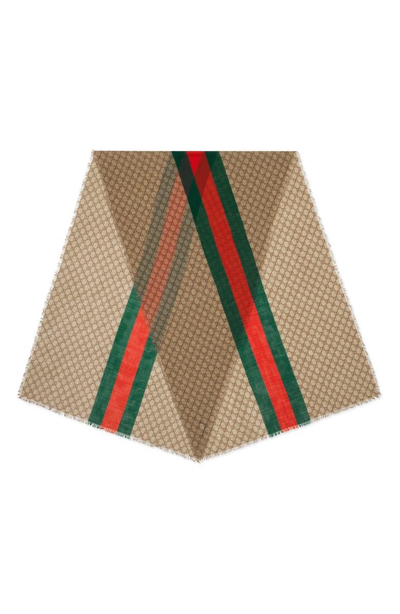 GUCCI Web Stripe GG Print Wool Scarf, Main, color, BEIGE